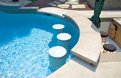 Swim Up Bar Curved Concrete Countertop