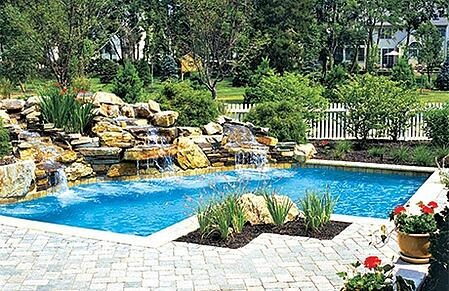 11rock waterfalls inground pool philly 2jpg - Swimming Pools With Waterfalls