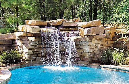 3rock waterfalls inground pool okcjpg - Swimming Pools With Waterfalls