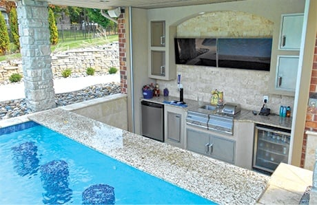 Swim Up Bar Covered Outdoor Kitchen
