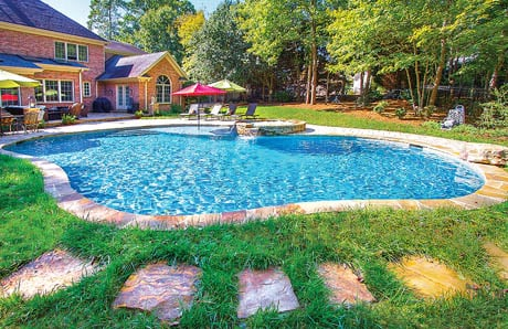 Swimming Pool Decks Using Grass Lawns In Photos