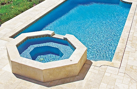 Custom pool enclosure hexagon shape Mirror Hexagonshapecustomspaandromanpooljpg Archiproducts Custom Inground Spas Design Ideas Photos Of Shapes Styles
