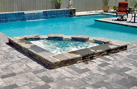 custom pool enclosure hexagon shape. Triangular-custom-spa-with-pool.jpg Custom Pool Enclosure Hexagon Shape D
