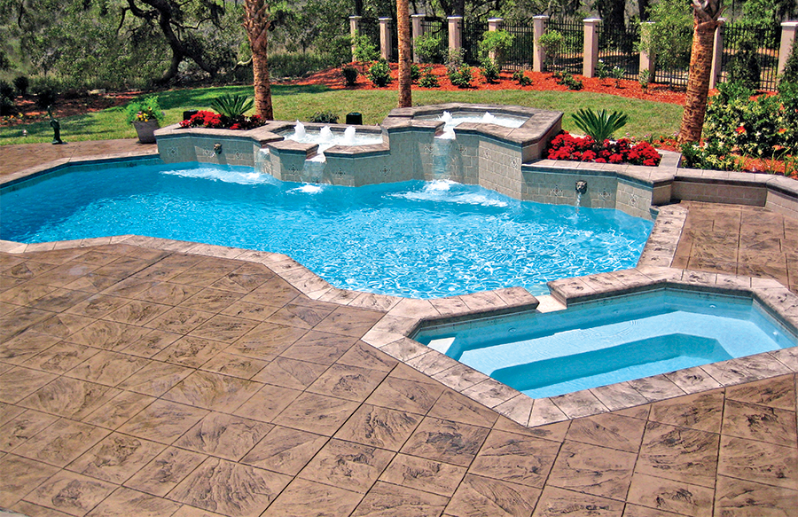 Base Color Concrete Pool Deck With Stamped Overlay