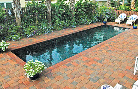Black Bottom Lap Pool With Paver Deck