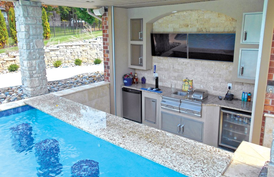 custom swim up bar with kitchen