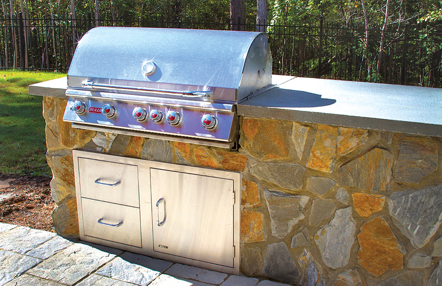 island grill with flagstone exterior