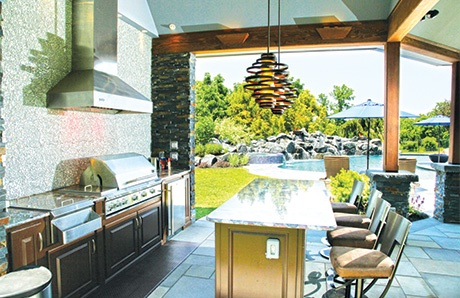 Outdoor Kitchen Covered By A Pavilion