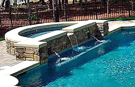 Pool With Spa With Sconces And Fountains 1.