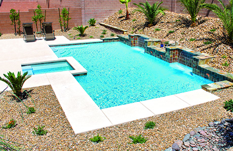 Rectangle Pool With Spa pool & patio deck design and size: 5 questions for planning