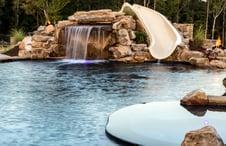 swimming-pool-rock-slide combination