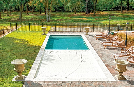 Swimming Pool with Auto Cover Half On