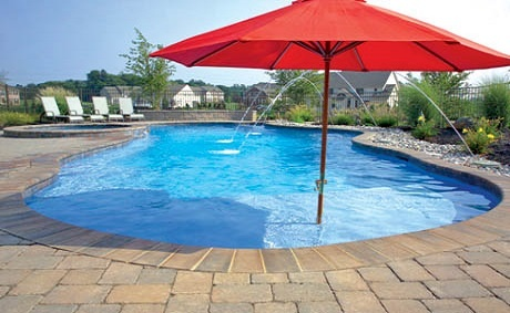 pool tanning ledge with built in umbrella