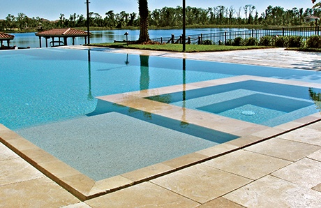 square custom spa overflow perimeter pool 1jpg - Rectangle Pool With Spa