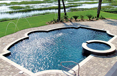 custom geometric pool and spajpg - Rectangle Pool With Spa
