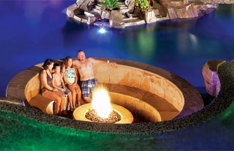 Pool sunken conversation pit with fire pit