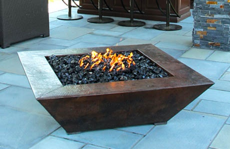Modern square firepit with bronze finish