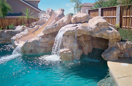 4cave_grotto_with_slide_california - Swimming Pools With Grottos