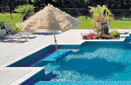 Staycation swimming pool features for Swimming pools with built in tables