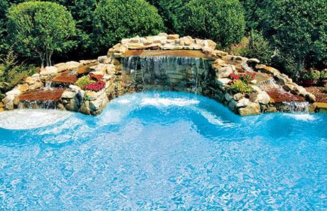 rock-grotto waterfall-on-gunite-pool